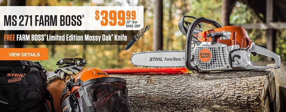 Free Mossy Oak Knife with MS 271 Farm Boss purchase
